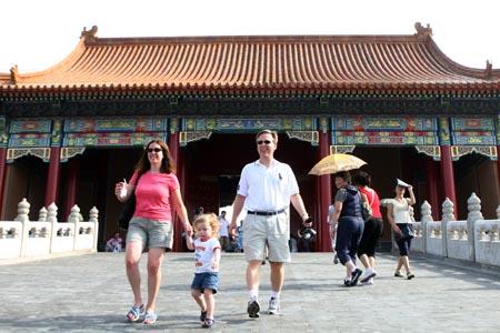 图文:奥运家庭游北京 usa1776在故宫游览
