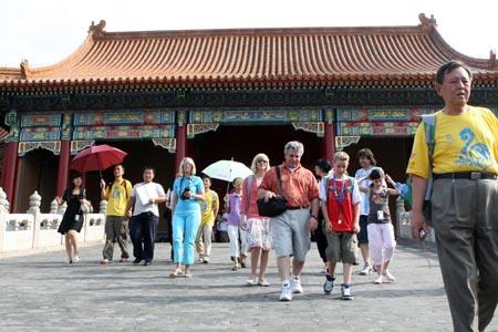 图文:奥运家庭游北京 每个人都很兴奋