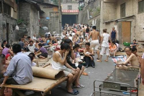 市民睡在街上