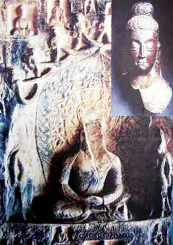 流失海外的洛阳龙门石窟古阳洞高树龛释尊佛头(右上图)与遭破坏的佛身不久就能实现身首合璧资料图片