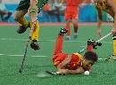 图文:曲棍球邀请赛澳大利亚男队夺冠 痛苦表情