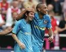 图文:绍尔告别赛巴萨1-0拜仁 梅西亨利庆祝