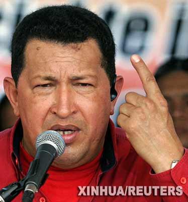 资料图片:5月5日,委内瑞拉总统查韦斯在加拉加斯发表演讲。新华社/路透