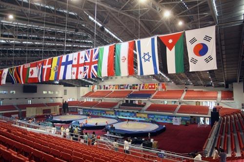 图文:农大体育馆完工 俯视整个体育馆