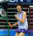 图文:[羽毛球]小将朱琳2-0王晨夺冠 来之不易