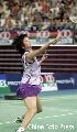 图文:[羽毛球]小将朱琳2-0王晨夺冠 赛场英姿