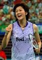 图文:[羽毛球]小将朱琳2-0王晨夺冠 高兴不已