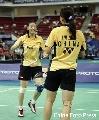 图文:[羽毛球]杨维张洁雯2-0高��黄穗 欢庆胜利