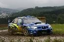 图文:[WRC]勒布称雄德国站 斯巴鲁驶过弯道