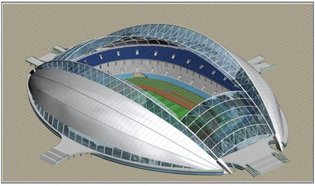 图文:奥运分赛场沈阳奥体中心  侧面效果图