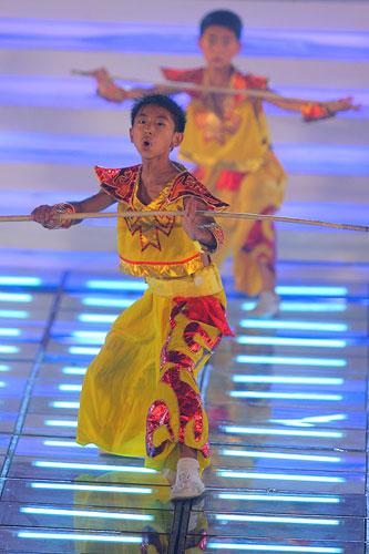 图文:2007青帆赛闭幕式 精彩的武术表演