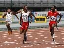 图文:男子100米预赛 冲刺表情