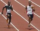 图文:男子100米预赛 盖伊在比赛中