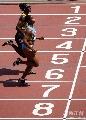 图文:世锦赛女子100米预赛 终点冲刺的瞬间