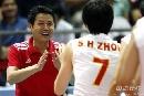 图文:[大奖赛]中国女排3-0巴西 陈忠和庆祝获胜