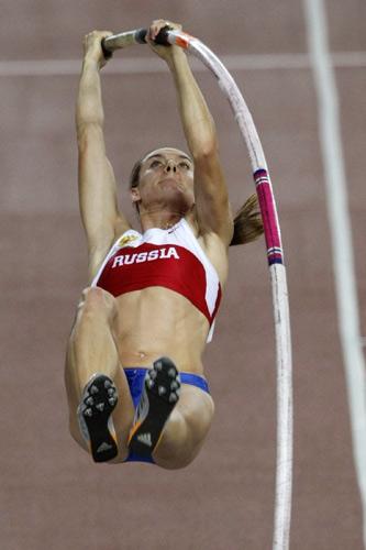 图文:撑杆跳伊辛巴耶娃夺冠 挑战不可能的她