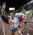 图文:俄罗斯选手包揽跳远奖牌 她们包揽了奖牌