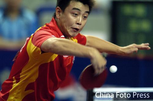 图文:乒乓球大奖赛第四日图片 王皓回球刁钻