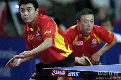 图文:乒乓球中国大奖赛 马林王皓获男双冠军