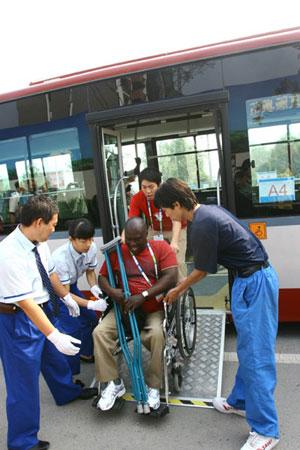 乘坐的巴士提供了无障碍服务