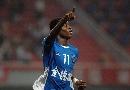 图文:[中超]长沙金德1-1天津泰达 阿布庆祝进球