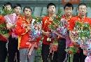 图文:亚乒赛男团胜日本夺冠 中国登上领奖台