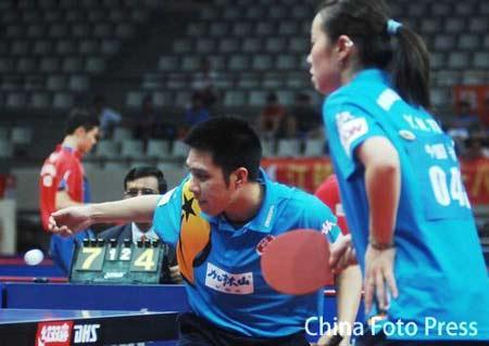 图文:乒乓球亚锦赛混双 高礼泽/帖雅娜进四强
