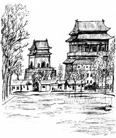 铅笔画西安钟楼