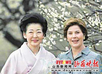 福田妻子贵代子与布什夫人劳拉