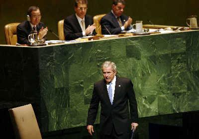 美国总统布什在联大呼吁联合国推进民主和自由。新华/路透图