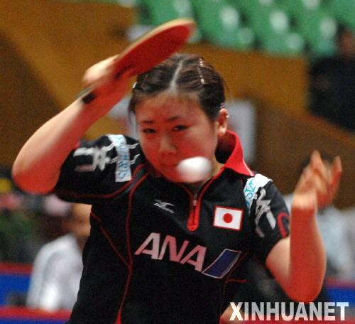 举行的2007世界杯女子乒乓球赛首轮比赛中,福原爱以4比0战胜刚果