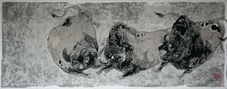 图文:关玉良艺术作品欣赏 水墨画《牛》