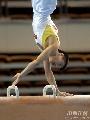 图文:第六届城运会体操男团 鞍马上倒立
