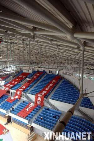 图文:北京工业大学体育馆即将竣工 观众看台