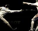 图文:[击剑]世锦赛男重半决赛 迭戈直刺命中