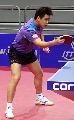图文:乒乓世界杯中国首训 王皓反手横打