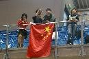 图文:中国男团VS俄罗斯 中国球迷热情观战