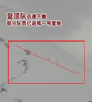 登顶队迅速下撤 15:00部分队员已返抵一号营地