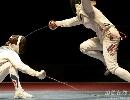 图文:[击剑]女重团体赛法国夺金 跳起躲避