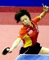 图文:乒球世界杯女团决赛 张怡宁正手攻击