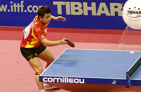 图文:乒乓球团体世界杯男团决赛 王皓奋力回球