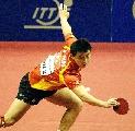 图文:乒乓球团体世界杯 王皓直板横打变幻莫测