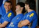 图文:巴西队训练备战世界杯预赛 卡卡开怀大笑