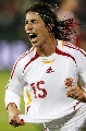 图文:[欧预赛]丹麦1-3西班牙 拉莫斯庆祝进球