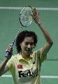图文:羽球邀请赛女单决赛 谢杏芳向观众致意