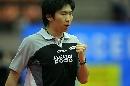 图文:男乒世界杯半决赛 柳承敏握拳庆祝