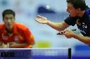 图文:男乒世界杯三四名决赛 波尔发球难奈大力