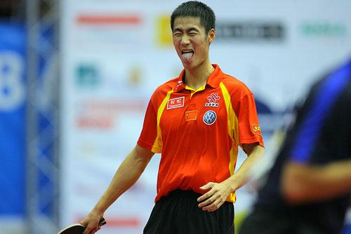 图文:男乒世界杯三四名决赛 大力胜得酣畅淋漓