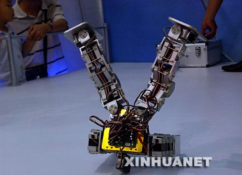 10月15日,一款娱乐机器人在高交会上表演倒立。一批具有自主知识产权的娱乐类机器人在深圳举行的第九届高交会上亮相,它们表演聊天、唱歌、跳舞等节目,吸引人们关注。 新华社记者周文杰摄