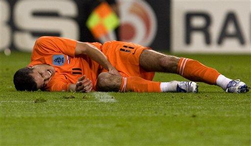 图文:荷兰2-0斯洛文尼亚 范佩西痛苦倒地